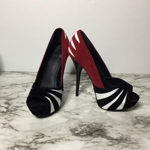 Sheikh Red Velvet/Black/ White stripe Heels